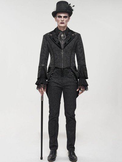 Devil Fashion Black Gothic Patterned Party Swallow Tail Coat for Men