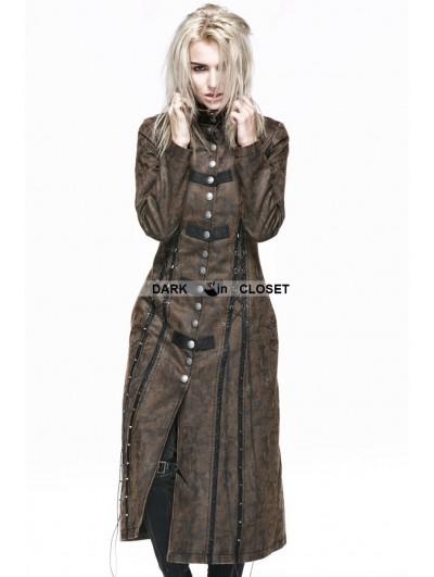 Punk Rave Brown Heavy Metal Vintage Gothic Steampunk Coat for Women