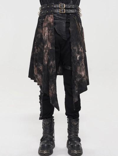Devil Fashion Black Gothic Punk Open Front Irregular Half Skirt for Men