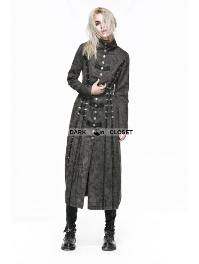 Punk Rave Gray Heavy Metal Vintage Gothic Steampunk Coat for Women