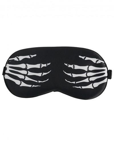 Devil Fashion Black and White Gothic Skeleton Pattern Soft Eye Sleeping Mask