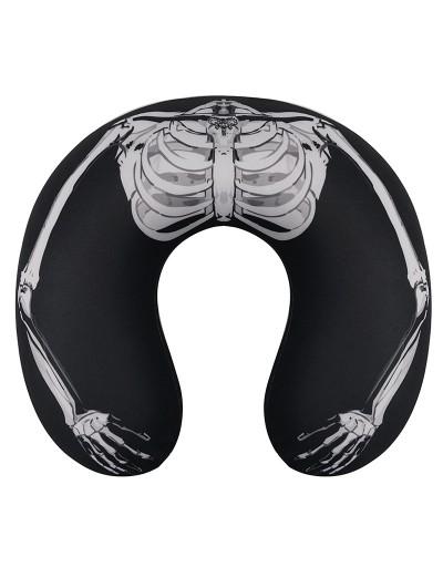 Devil Fashion Black and White Gothic U-Shaped Skeleton Pattern Travel Neck Pillow