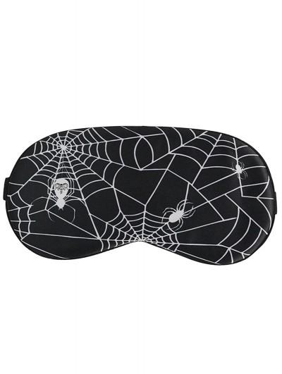 Devil Fashion Black and White Gothic Spider Web Pattern Soft Eye Sleeping Mask