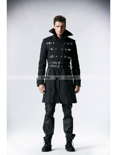Punk Rave Black Army Style Gothic Coat for Men