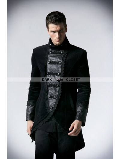 Punk Rave Black Double Breasted Gothic Jacket for Men