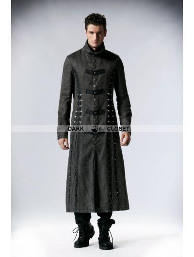 Punk Rave Gray Heavy Metal Vintage Gothic Steampunk Coat for Men