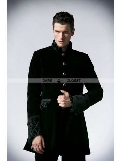Punk Rave Black Velvet Vintage Gothic Jacket for Men