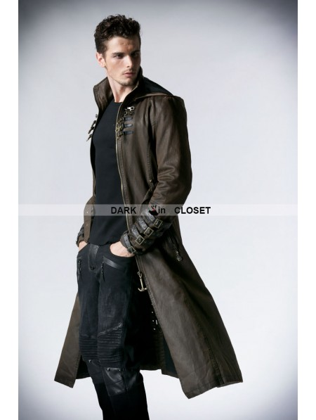 punk rave coffee vintage gothic steampunk coat for men