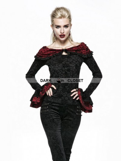 Punk Rave Black Rose Flocking Gothic Cape Shirt
