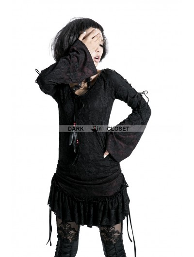 Punk Rave Black Gothic Lace Long Shirt for Women
