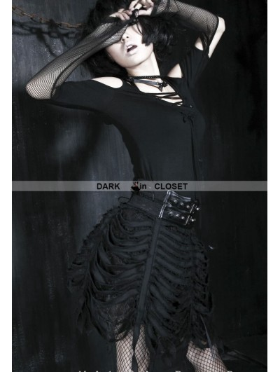 Punk Rave Black Spider-Web Gothic Skirt