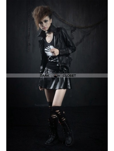 Punk Rave Black PU Gothic Punk Short Skirt