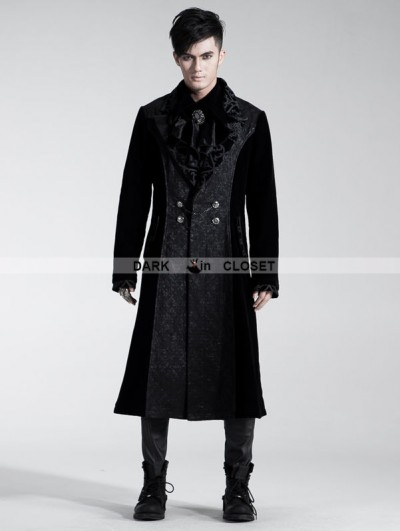 Punk Rave Black Velvet Gothic Long Coat for Men