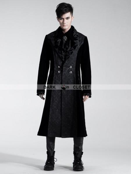 Punk Rave Black Velvet Gothic Long Coat For Men