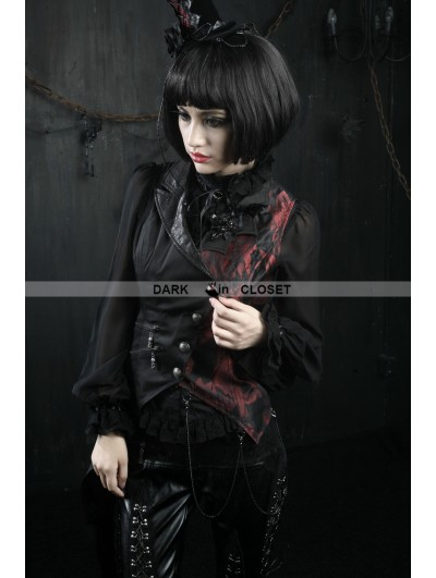 Punk Rave Black and Red Asymmetrical Gothic Punk Vest for Women