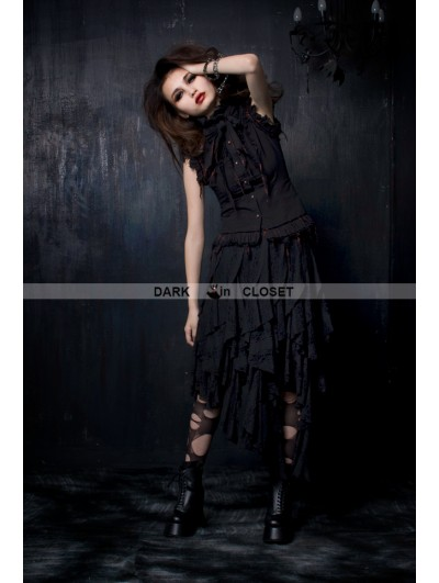 Punk Rave Black and Red Sleeveless Gothic Blouse for Women