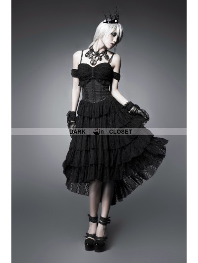 Punk Rave Black Off-the-Shoulder Gothic Corset High-Low Dress