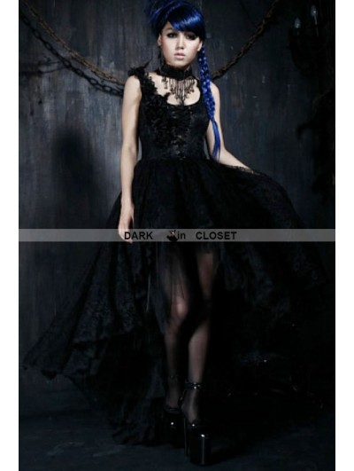 Punk Rave Black Lace Gothic Queen Style High-Low Dress
