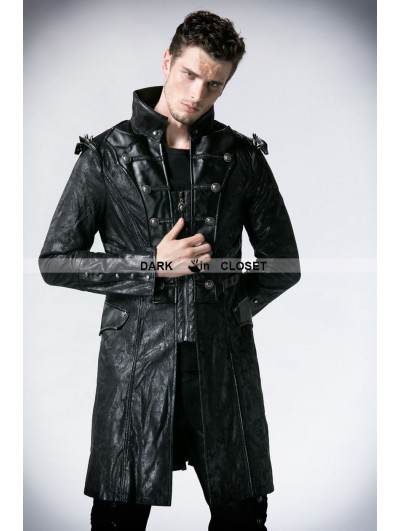 Punk Rave Black Leather Military Long Trench Coat for Men
