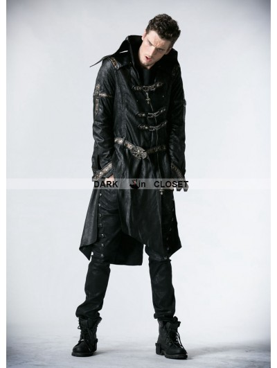 Punk Rave Black Leather Gothic Punk Trench Coat for Men
