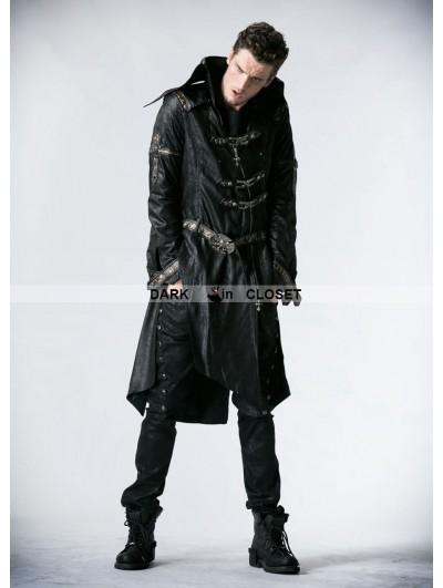 Punk Rave Black Leather Gothic Punk Trench Coat for Men