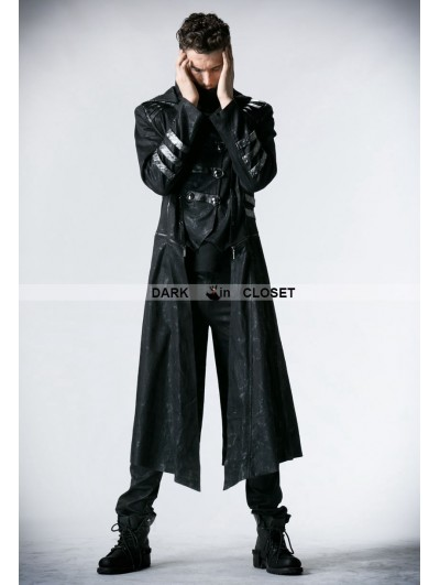 Punk Rave Black Long to Short Gothic Military Trench Coat for Men