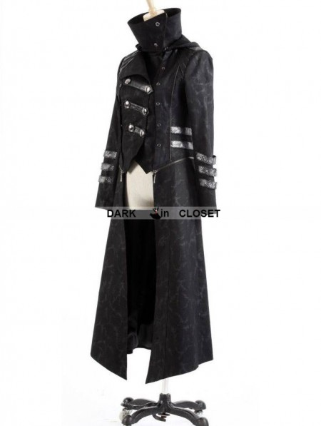 Punk Rave Black Long to Short Gothic Military Trench Coat for Men ...