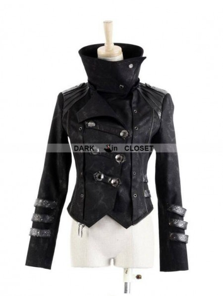Punk Rave Black Long To Short Gothic Military Trench Coat
