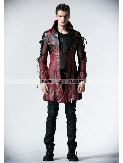 Punk Rave Red and Black Long Sleeves Leather Gothic Trench Coat for Men