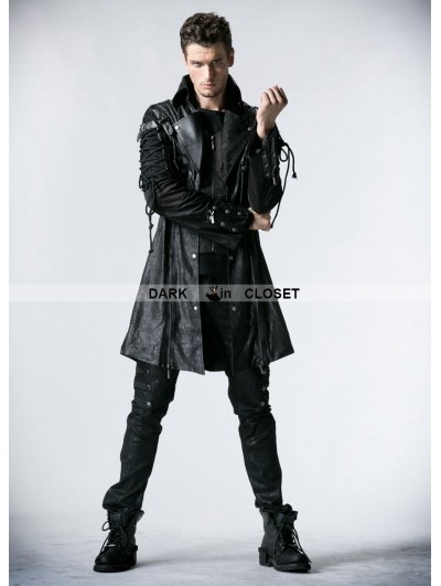 Punk Rave Black Long Sleeves Leather Gothic Trench Coat for Men