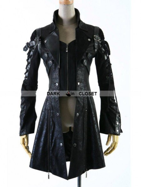Punk Rave Black Long Sleeves Leather Gothic Trench Coat for Men ...