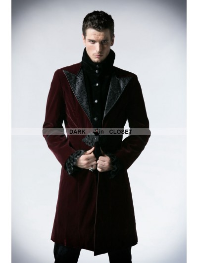 Punk Rave Wine Red Velvet Gothic Jacket for Men