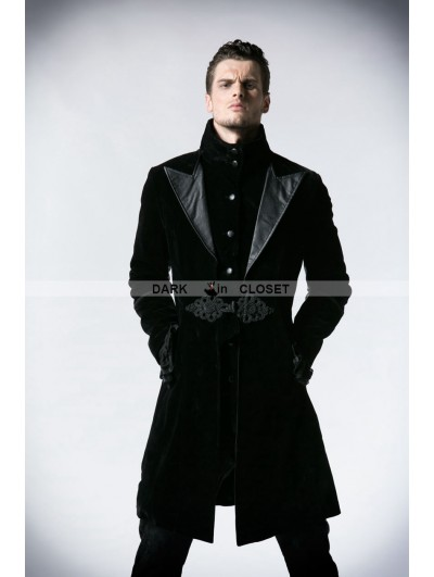 Punk Rave Black Velvet Gothic Jacket for Men