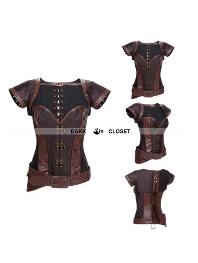 Brown Brocade Steampunk Overbust Corset with Jacket