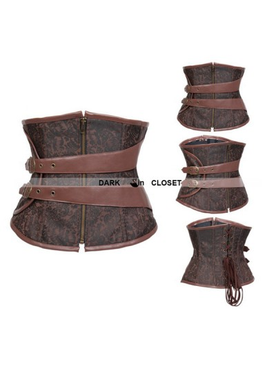 Brown Steampunk Waspie Corset