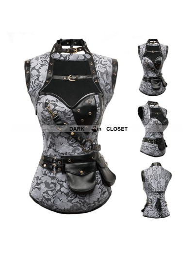 Black Pattern Steampunk Overbust Corset with Jacket
