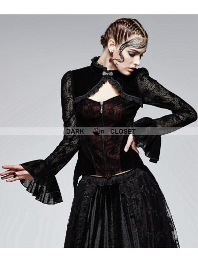 Punk Rave Black and Red Gothic Flocking Lace Top for Women