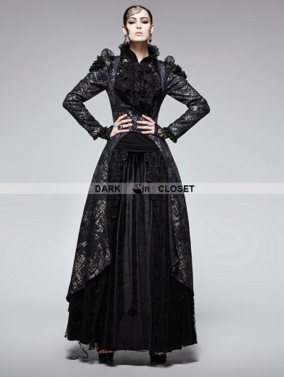 Punk Rave Gothic Black and Golden Printing Coat with Long Tail for Women