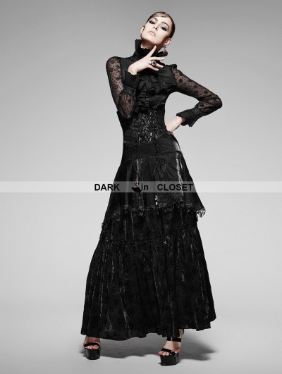 Punk Rave Black Gothic High Waist Long Skirt
