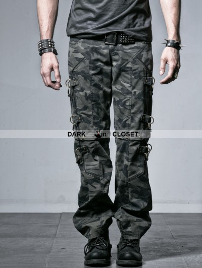 Punk Rave Male Camouflage Two-Wear Trouser with Handcuffs