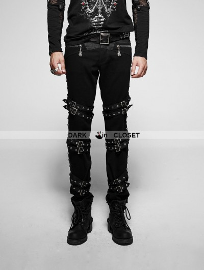 Punk Rave Black Gothic Punk Diagonals Pants for Men