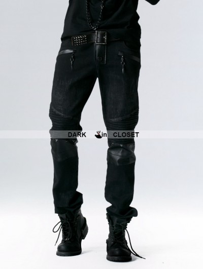 Punk Rave Black Gothic Punk Long Trousers for Men