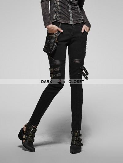 Punk Rave Black Gothic Steampunk Pants for Women