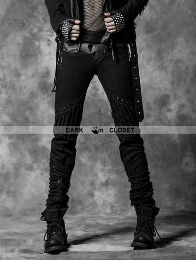 Punk Rave Black Rope Back Denim Gothic Pants for Men