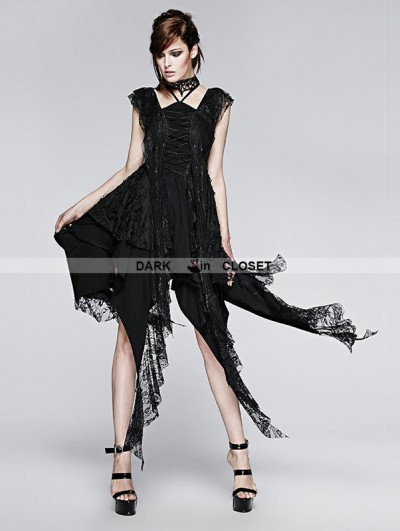 Punk Rave Black Gothic Irregular Decadent Dress