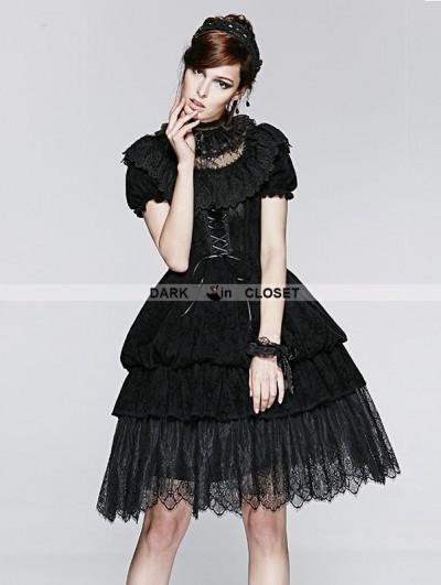 Punk Rave Black Short Sleeves Gothic Lolita Bubble Dress