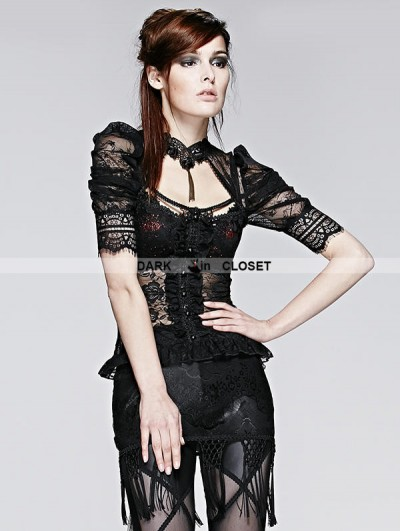 Punk Rave Black Gothic Sexy Lace Short T-Shirt
