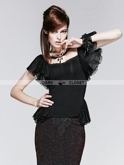 Punk Rave Black Gothic Butterfly Short Sleeve T-Shirt