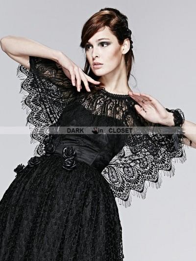 Punk Rave Black Lace Gothic Two Wear Cappa