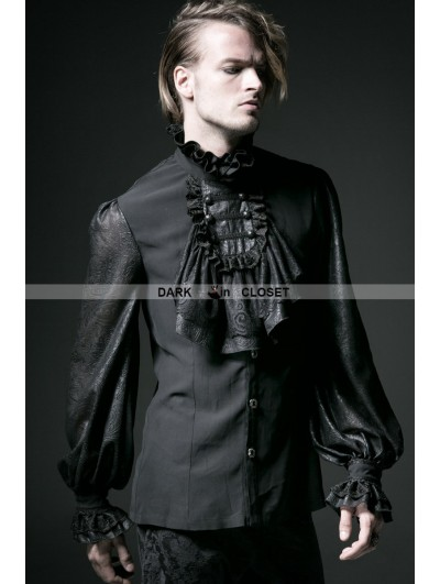 Punk Rave Black Gothic Long Sleeves Chiffon Emnossing Blouse for Men